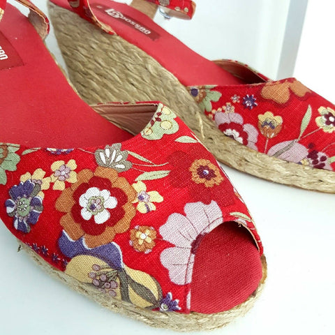 Dossan Spain Floral Red Wedge Espadrilles 8 41