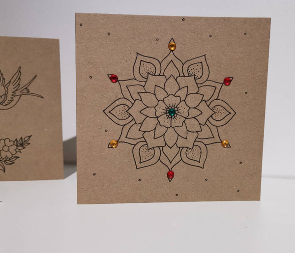 Mandala Poinsettia Greetings Card