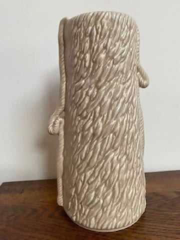 Mid-century vase by SylvaC (Beige glaze over a textured 'wood bark' surface with rope trailing down each side of the vase - 3371)