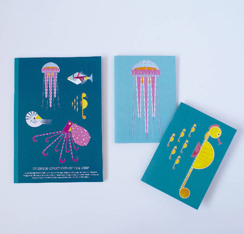 Jellyfish A6 notebook, printed on recycled paper