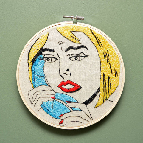 Roy Lichtenstein inspired embroidery hoop - Wall Art