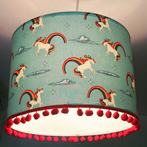 Unicorns & Rainbows PomPom Large Handmade Light Shade