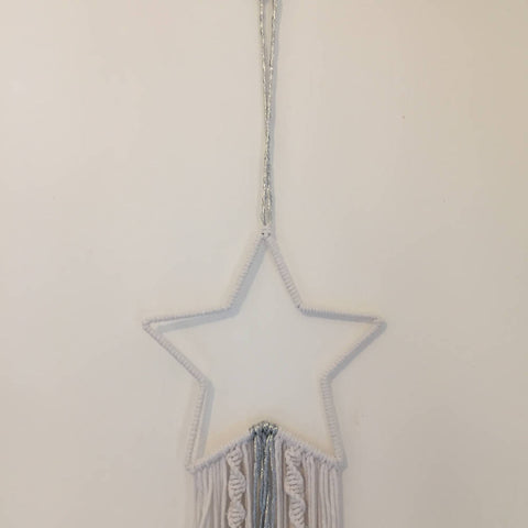 Shooting Star, Modern Macramé White with Silver Wall Hanging