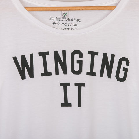 The White WINGING IT Oversized Tee