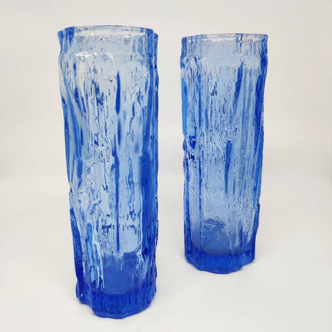 Pair of Blue Ravenhead Bark Vases