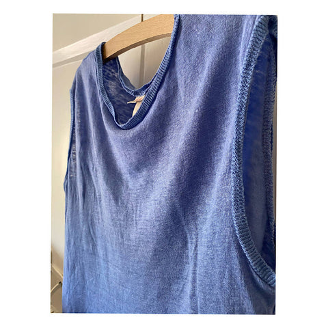 BELLEROSE LOOSE BLUE SLUBBY SLEEVELESS TOP AGE 12/14