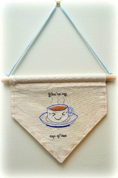 'My cup of tea' embroidered wall banner - Wall Art