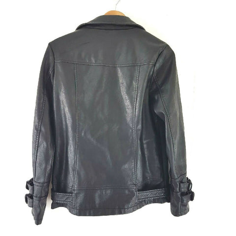 New Look Faux Leather Biker Jacket Oversized 8