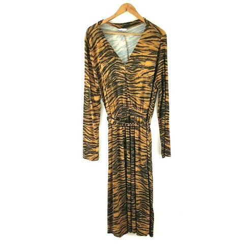 H&M Tiger Print Midi Dress Jersey 10 12