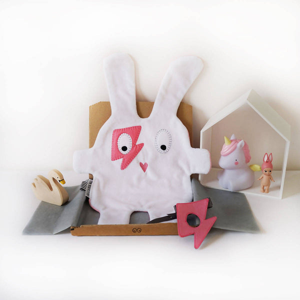Baby Comforter | White & Pink Flash | The Dou-Doods