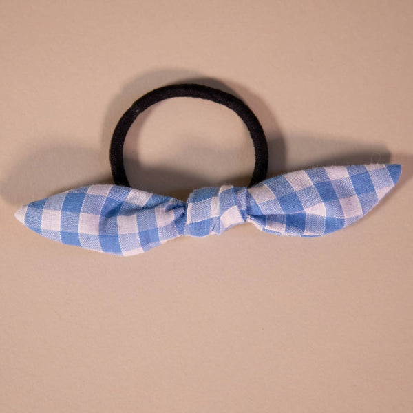 Light Blue Gingham Hair Bow on Hair Elastic