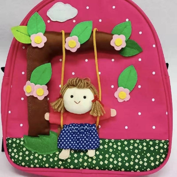 Kids Handmade Backpack Girl on Swing