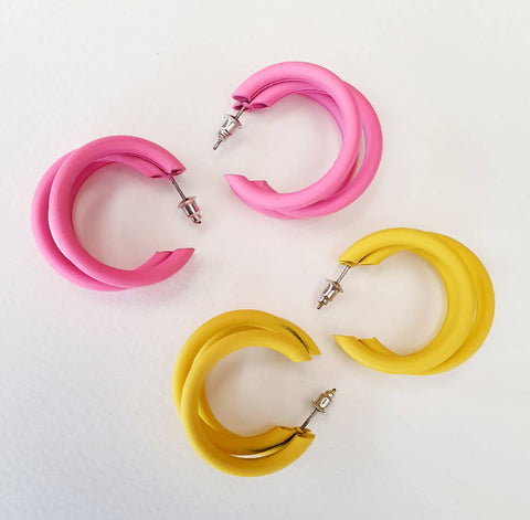 Pink Multi Hoop Earrings