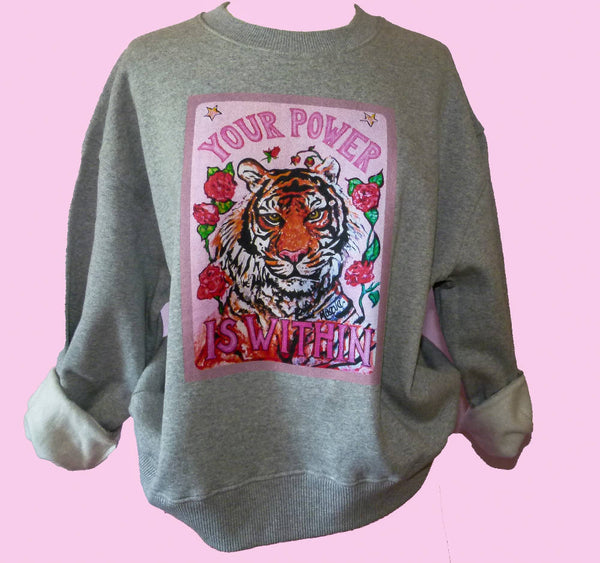 Organic cotton Grey TIGER sweater