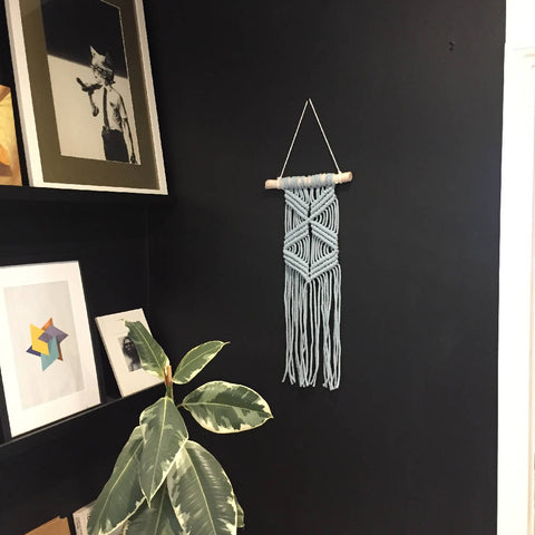 Modern Blush Blue Macramé Wall Hanging