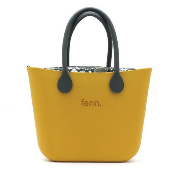 Mustard Yellow Fenn bag with snakeskin print canvas inner and black handles