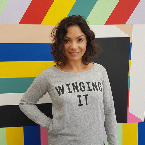 The Grey & Black WINGING IT Scoop Neck Sweatshirt