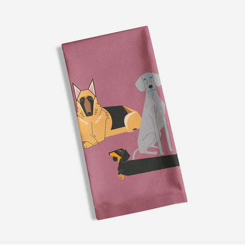 Doggy friends pink tea towel made with 100% organic cotton