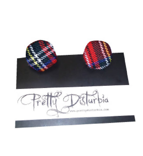 HANDMADE RED TARTAN OVERSIZED CLIP ON STUD EARRINGS | PRETTY DISTURBIA