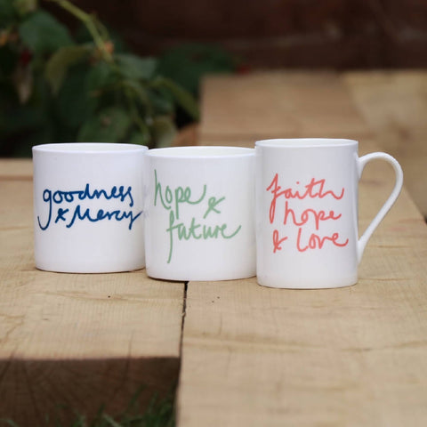 Faith, Hope & Love, bone china, Mindful Mug