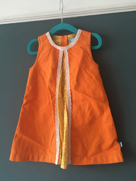 Little Bird Retro Orange Dress (2-3 yrs)