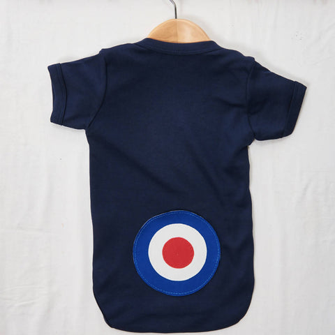 Blue Target on a Navy Baby grow, size 0-3 months