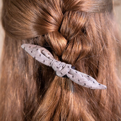 Grey and Black Dotty Hair Bow on Hair Elastic