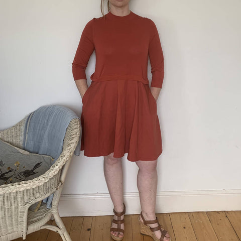 Cos burnt orange two part dress size small