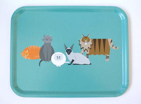 Small Cat characters eco wooden tray