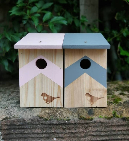 Contemporary Hand Finished Chevron Bird Box