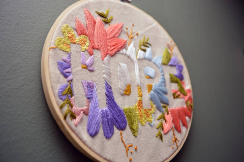 Floral 'HOPE' slogan hand embroidered hoop - Wall Art