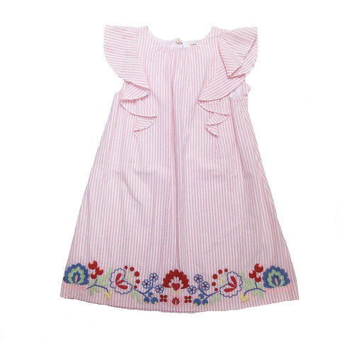 CREWCUTS PINK STRIPE DRESS 5-6 YEARS