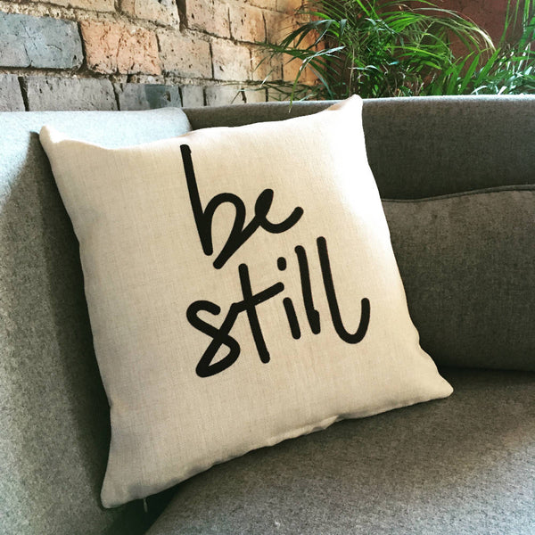 Be Still, mindful message linen look cushion