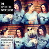 The Grey & Black WINGING IT 'Boyfriend' Sweatshirt