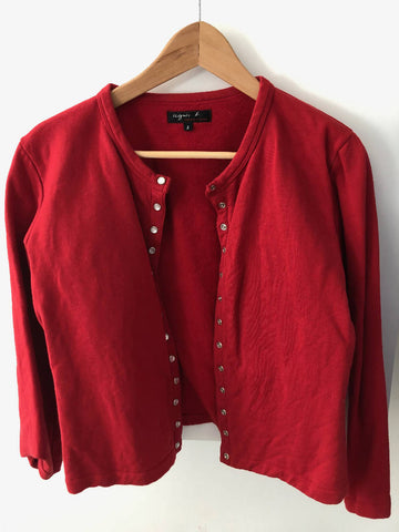 "Agnes B Size 3 red ""12 ans"" snap cardigan"