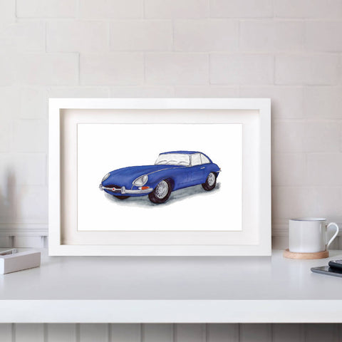 Jaguar E-Type Series 1 Front View Illustration Print