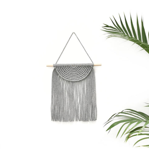 Macrame Semi Circle Wall Hanging [ Silver Grey ]