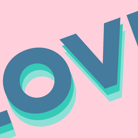 Love (pink/blue) | Home Decor - Wall Art - Typography