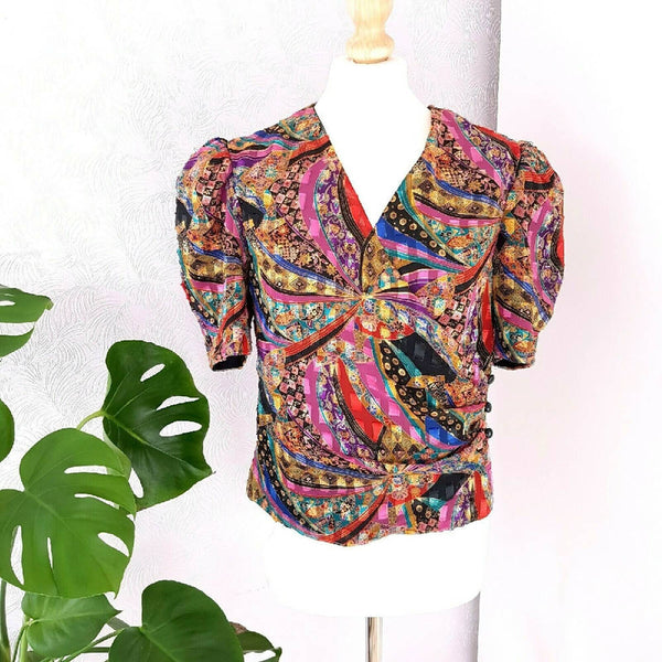 Vintage Gina Bacconi Multicoloured Wrap Blouse 14