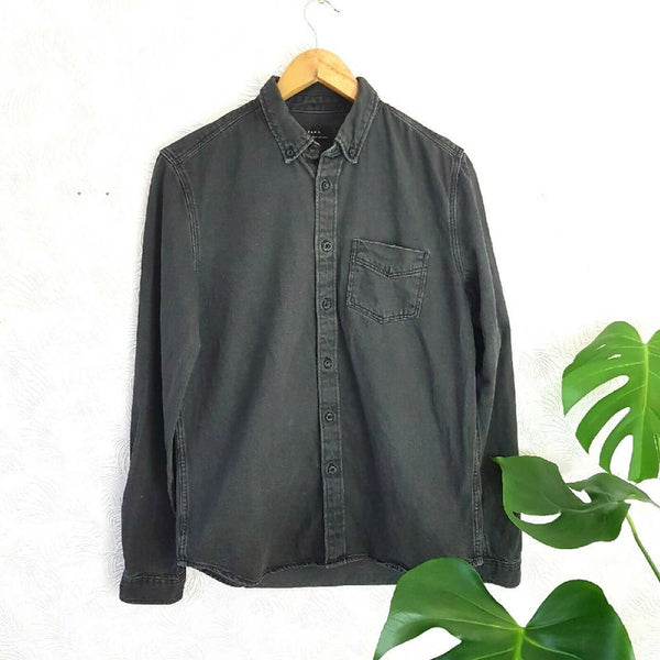 Zara Men Faded Black Denim Shirt Slim Fit Small