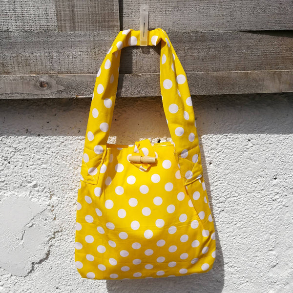 'Smallish' Tote Bag - Yellow Polkadot