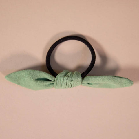 Sage Green Hair Bow on Hair Elastic
