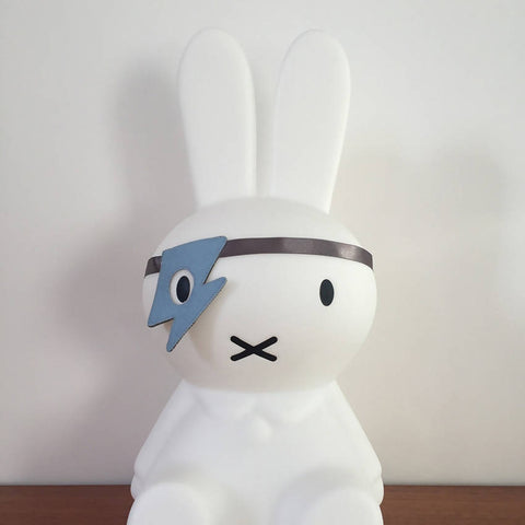 Blue felt flash style dress up eye patch on a Miffy bunny