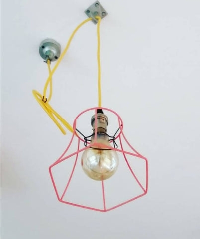 Refinished Vintage Industrial-Style Wire Light Shade