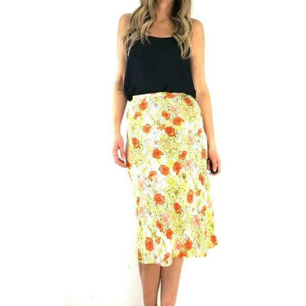 M&S Midi Slip Skirt Floral Poppy 8