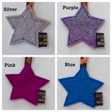 Sparkly Star Keyring with animal print ribbon.