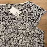 H&M BNWT grey floral lace top, M