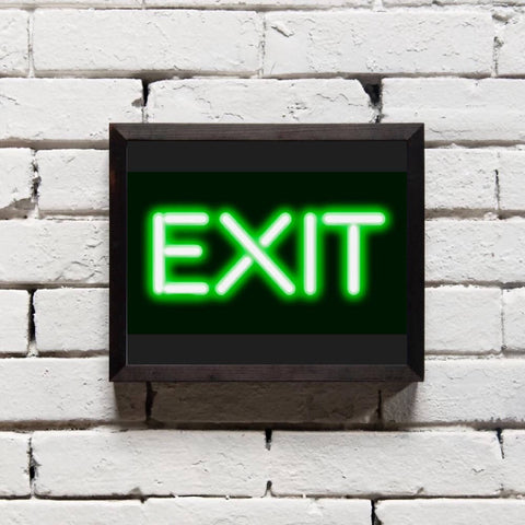 Neon Exit Poster Print - Home Decor - Wall Art
