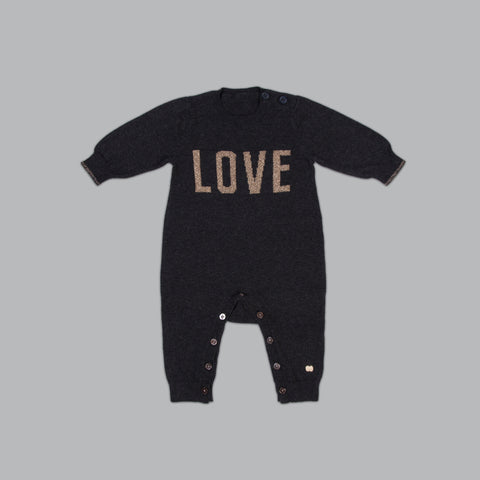 Charcoal LOVE Knitted Romper <br> SM x The Bonniemob