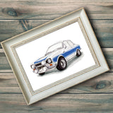 Ford Escort MK 1 Hand Drawn Watercolour/Illustration Print